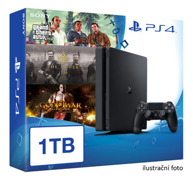 SONY PlayStation 4 - 1TB slim Black CUH-2016B + GTA V + The Order + God of War 3 Remastered