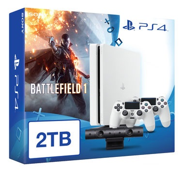 SONY PlayStation 4 - 2TB White CUH-1216A + Battlefield 1 + camera + 2x Dualshock