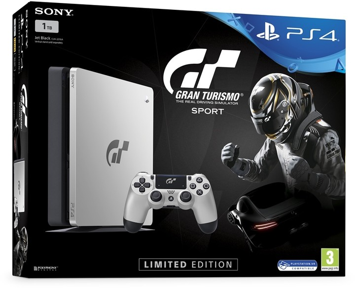 SONY PlayStation 4 - 1TB slim Black CUH-2116B + Gran Turismo Sport Speciální edice + That's You + PS Plus 14 dní