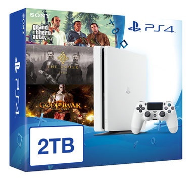 SONY PlayStation 4 - 2TB White CUH-1216A + GTA V + The Order + God of War 3 Remastered