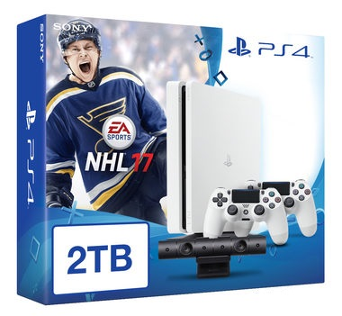 SONY PlayStation 4 - 2TB White CUH-1216A + NHL 2017 + camera + 2x Dualshock