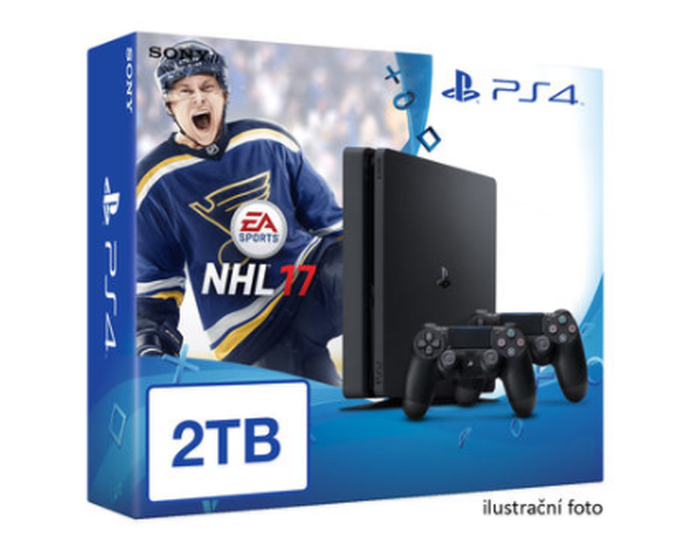 SONY PlayStation 4 - 2TB slim Black CUH-2016 + NHL 2017 + 2x Dualshock