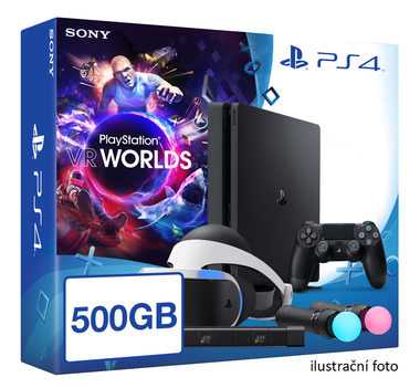 SONY PlayStation 4 - 500GB slim Black CUH-2016B + VR Worlds + PSVR + camera + 2x Move