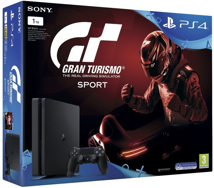 SONY PlayStation 4 - 1TB slim Black CUH-2116B + Gran Turismo Sport+ That's You + PS Plus 14 dní