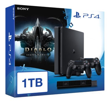 SONY PlayStation 4 - 1TB slim Black CUH-2016B + Diablo III: Ultimate Evil Edition + camera + 2x Dualshock
