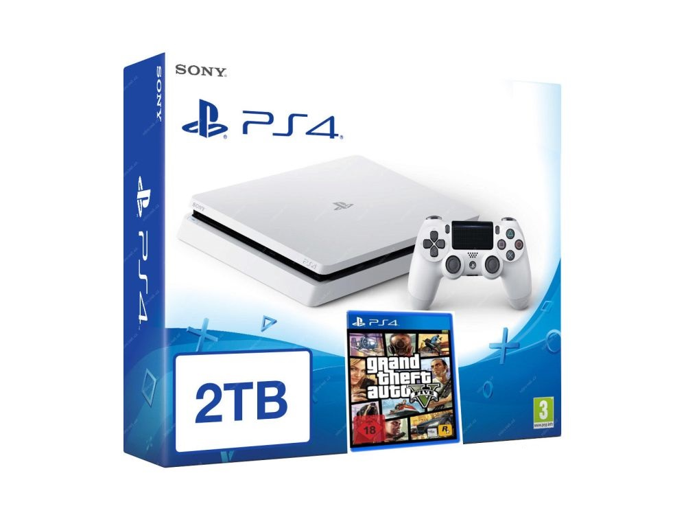 SONY PlayStation 4 - 2TB White CUH-1216A + GTA V + camera + 2x Dualshock