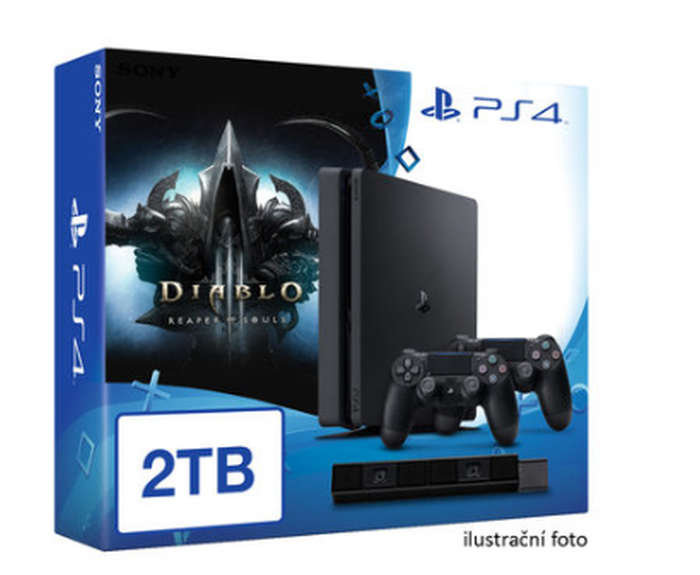 SONY PlayStation 4 - 2TB slim Black CUH-2016 + Diablo III: Ultimate Evil Edition + camera + 2x Dualshock