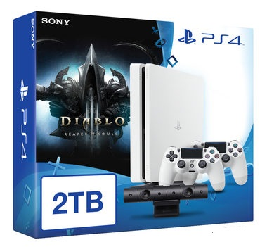 SONY PlayStation 4 - 2TB White CUH-1216A + Diablo III: Ultimate Evil Edition + camera + 2x Dualshock