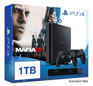 SONY PlayStation 4 - 1TB slim Black CUH-2016B + Mafia III + camera + 2x Dualshock