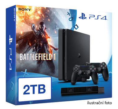 SONY PlayStation 4 - 2TB slim Black CUH-2016 + Battlefield 1 + camera + 2x Dualshock