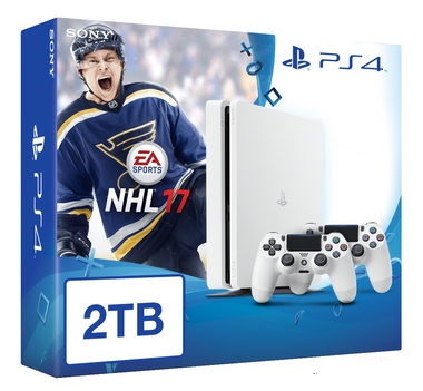 SONY PlayStation 4 - 2TB White CUH-1216A + NHL 2017 + 2x Dualshock