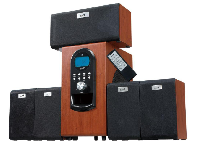 Genius repro SW-HF 5.1 6000, 200W RMS, LCD displej, dark wood