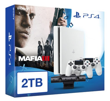 SONY PlayStation 4 - 2TB White CUH-1216A + Mafia III + camera + 2x Dualshock