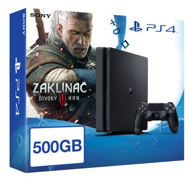 SONY PlayStation 4 - 500GB Slim Black CUH-2016A + The Witcher 3: The Wild Hunt edice roku (Zaklínač 3)
