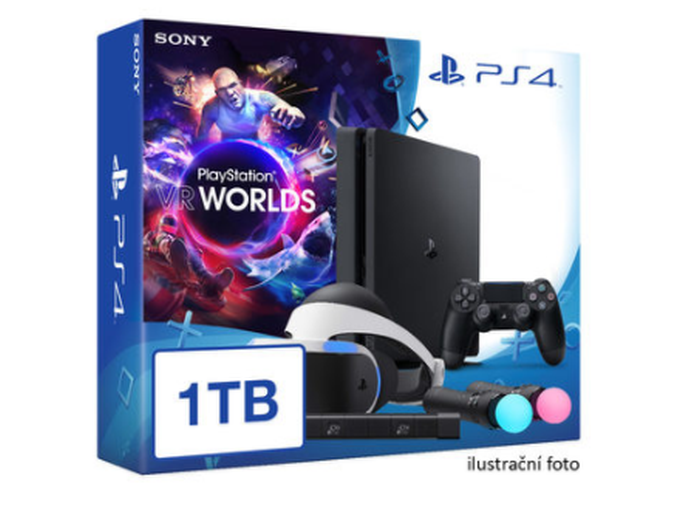 SONY PlayStation 4 - 1TB slim Black CUH-2016B + VR Worlds + PSVR + camera + 2x Move